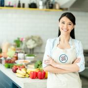 Woman wearing cooking apron