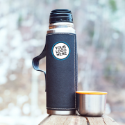 Blue thermos with logo option